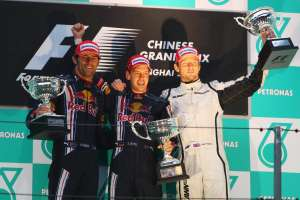 Chinese GP F1 2009 Red Bull first win Vettel Webber Button Foto Red Bull