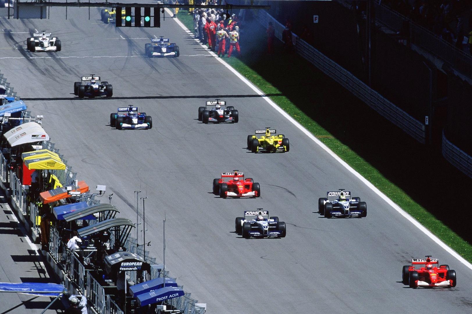 start of the austrian gp f1 2001