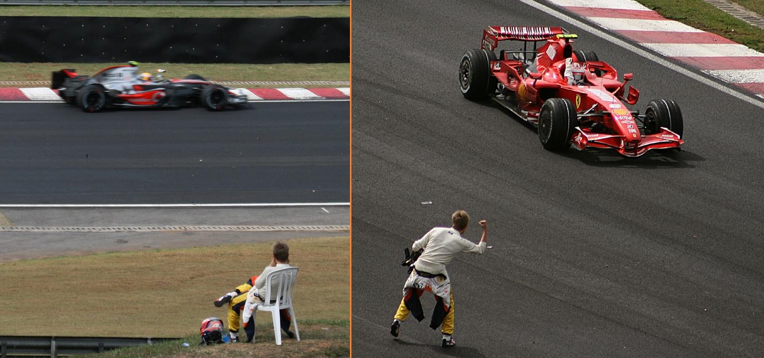 Heikki Kovalainen (lijevo) je nakon odustajanja u 36. krugu (prvo u sezoni) sjeo na stolicu i gledao ostatak utrke. Nakon utrke je čestitao sunarodnjaku Kimiju Raikkonenu na osvojenom naslovu prvaka (desno). (21.10.2007.)