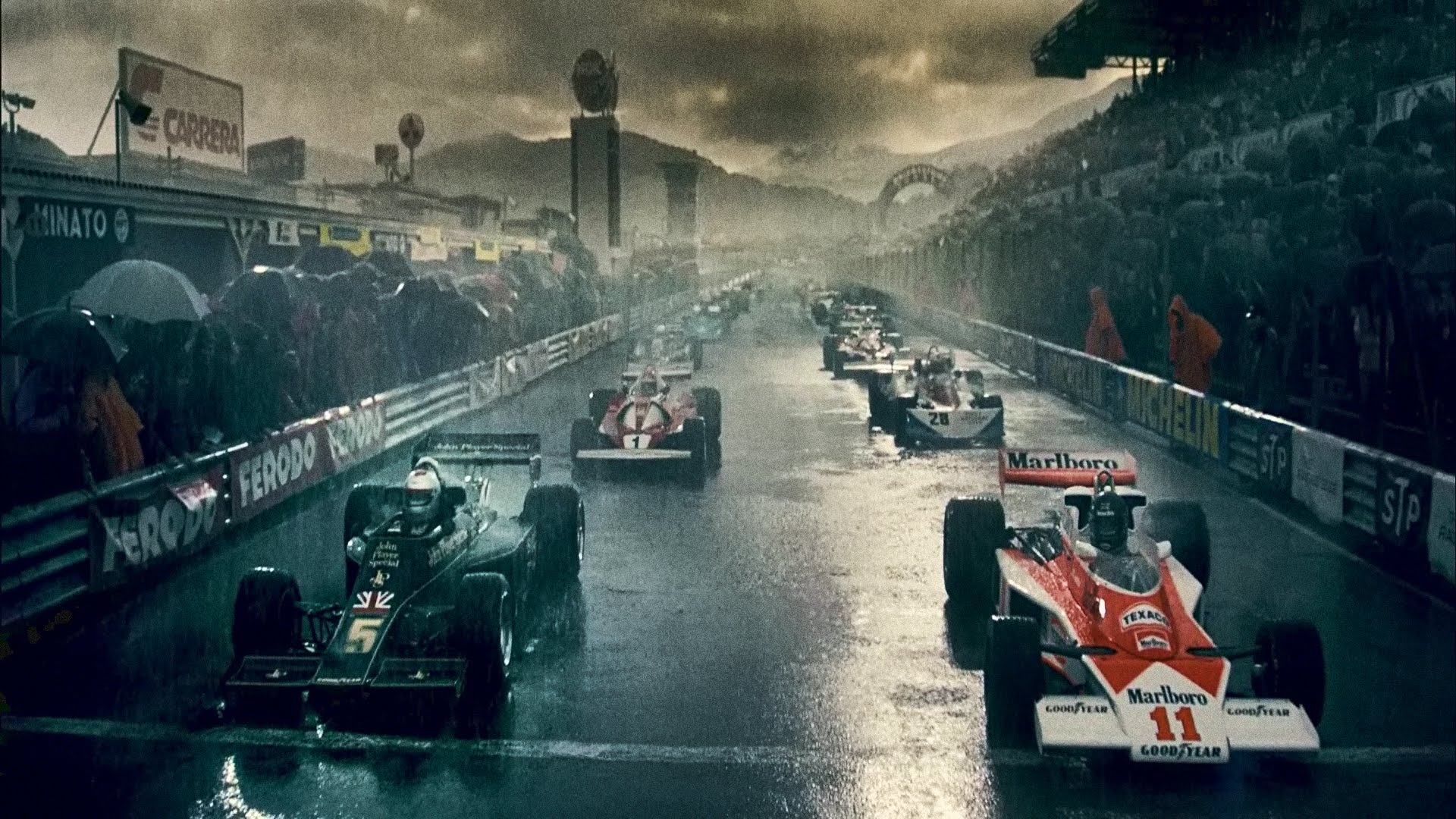Start VN Japana 1976., posljednje i odlučujuće utrke te sezone. (24.10.1976.) Screenshot: youtube (isječak iz filma 'Rush')