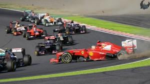 Trenutak koji je prvenstvo 2012. okrenuo u Vettelovu korist - Alonso odustaje u prvome krugu nakon dodira s Raikkonenom. (7.10.2012.)