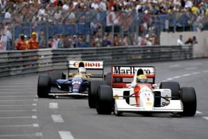 Ayrton Senna je 1992. u svojoj McLaren Hondi MP4-7A uspio zadržati bitno bržeg Nigela Mansella u Williams Renaultu FW14-B. Brazilac je tako došao do svoje pete pobjede u Monaku. (31.5.1992.) Foto: F1-History