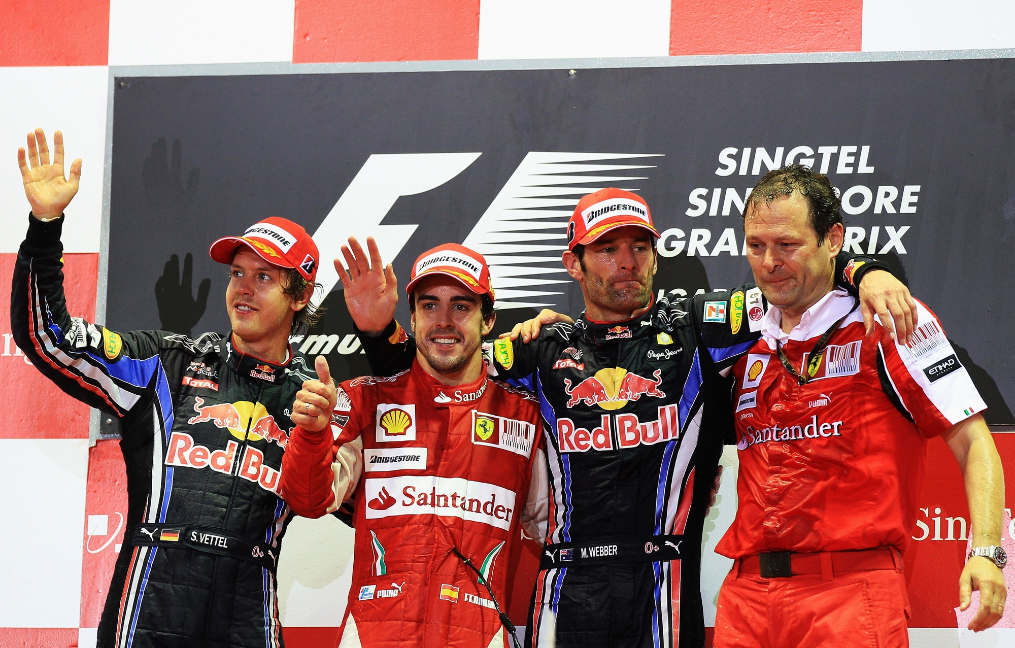 fernando alonso sebastian vettel mark webber singapore gp f1 2010 podium