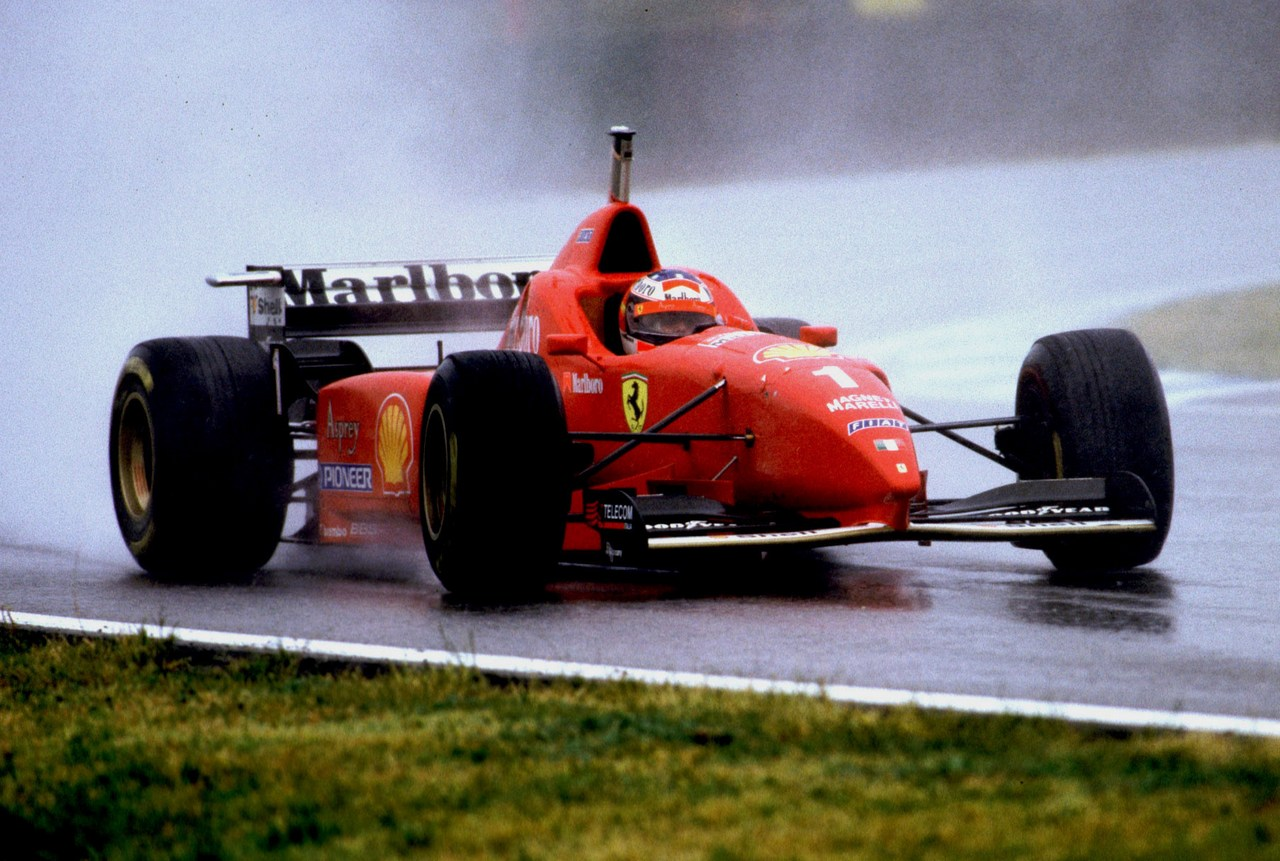 michael schumacher ferrari f310 spanish gp catalunya wet win