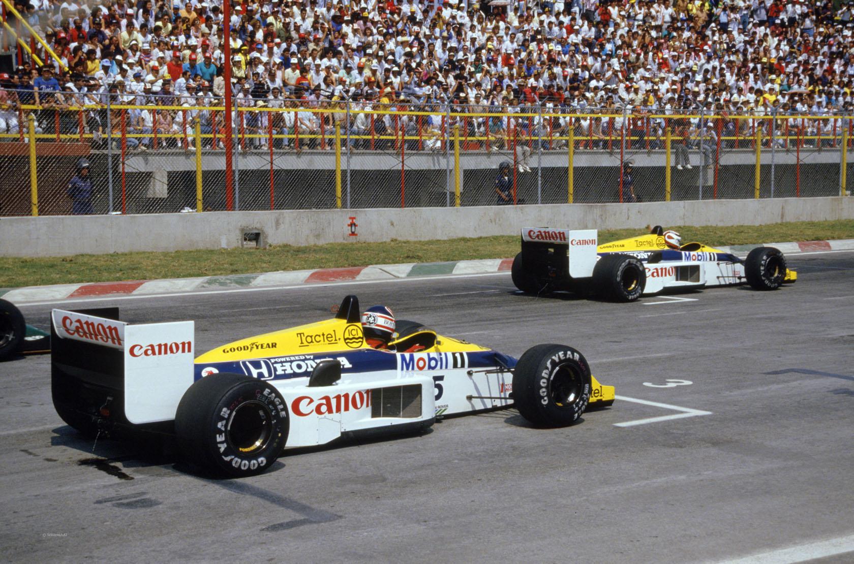 Nelson Piquet (2.mjesto) i Nigel Mansell (3.mjesto) u Williams Renaultovim bolidima uoči starta VN Meksika 1986. (12.10.1986.) Foto: Williams
