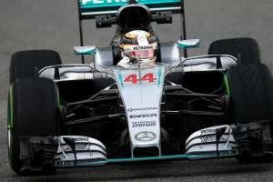 Lewis Hamilton Mercedes W07 Hybrid Barcelona test 22.2.2016. intermediate tyres