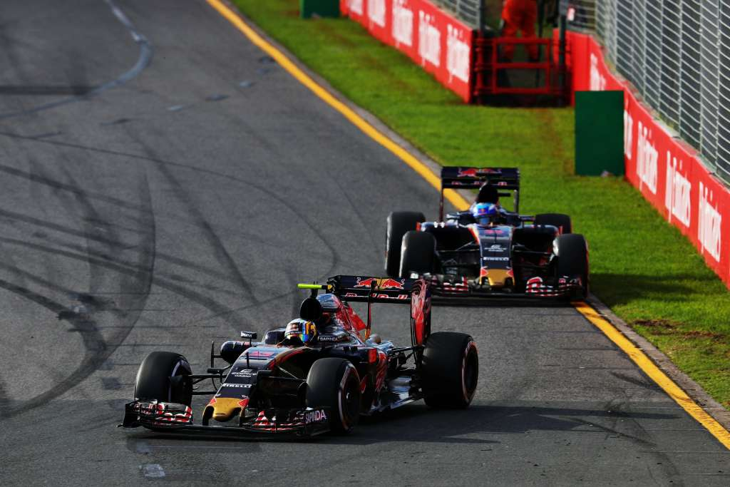 Carlos Sainz leads his team mate Max Verstappen at the Australian GP F1 2016