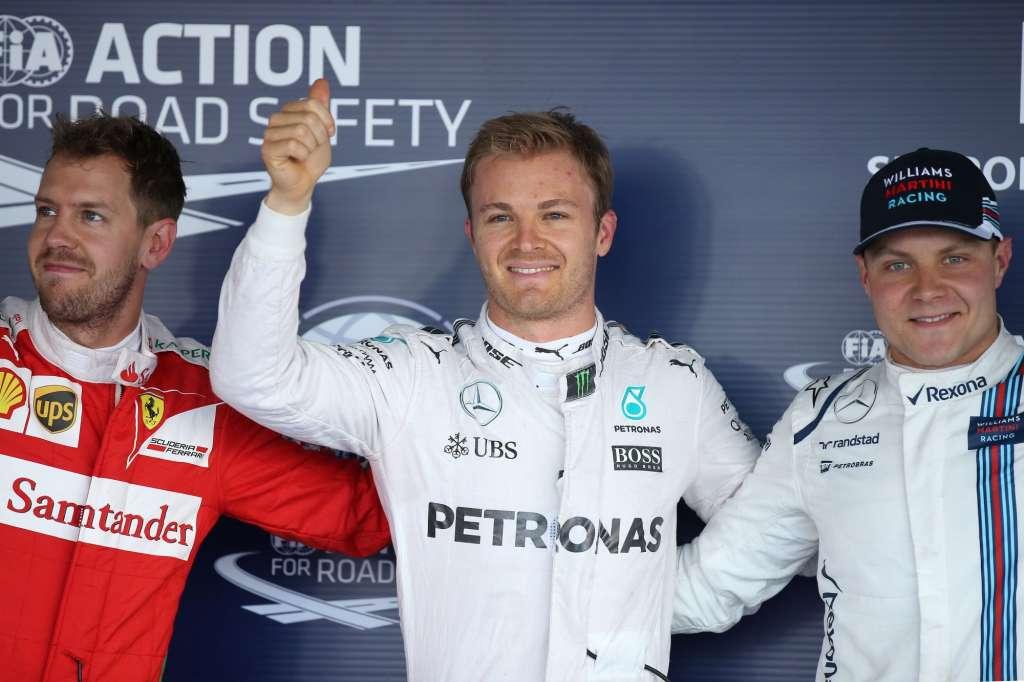 Nico Rosberg Mercedes W07 Hybrid Sebastian Vettel Ferrari SF16-H Valtteri Bottas Williams Mercedes FW38 post qualifying Russia GP F1 2016 Foto Mercedes