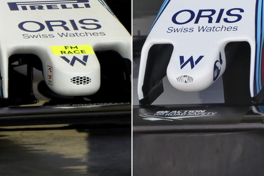 Usporedba starog (lijevo) i novog nosa (desno). Primjetite sjajan detalj - otvor za hlađenje vozača je u obliku Williamsovog logotipa