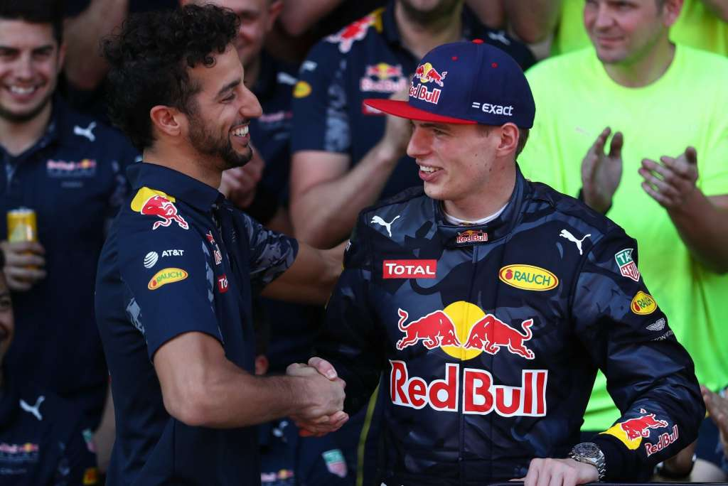 Daniel Ricciardo and Max Verstappen after the Spanish GP F1 2016 Foto Red Bull