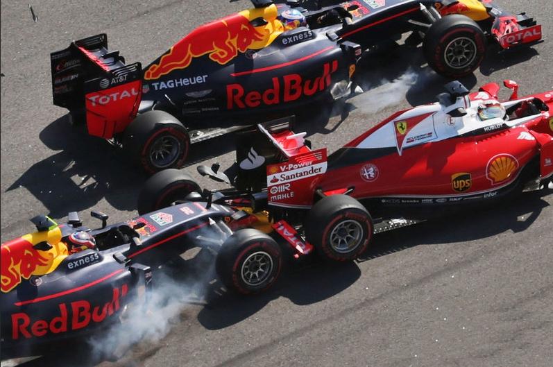 Vettel Kvyar Ricciardo chrash at Russian GP F1 2016 foto Motorsport
