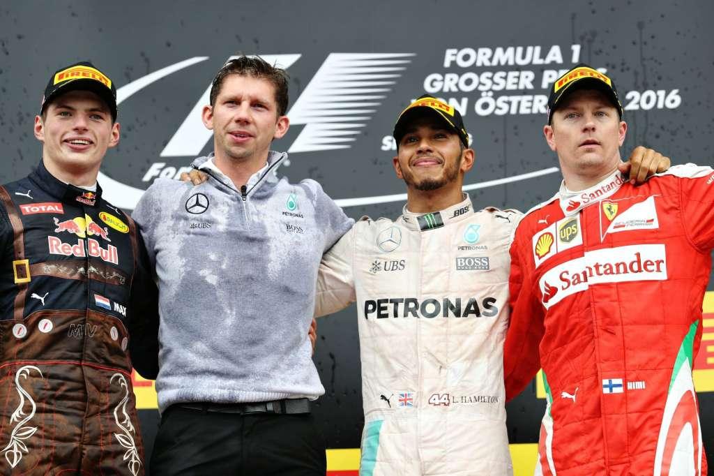 Austrian GP F1 2016 podium Hamilton Verstappen Vettel Foto Red Bull