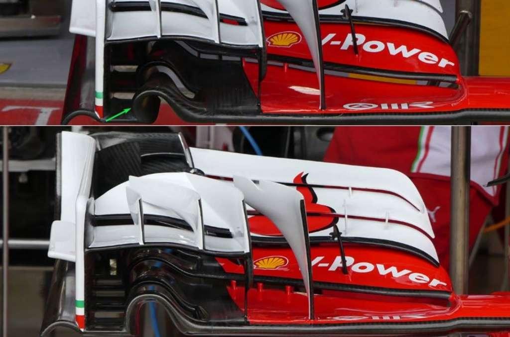 Ferrari SF16-H front wing old new comparison British GP F1 2016 Foto Auto Motor und Sport
