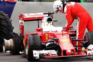 Sebastian Vettel Ferrari SF16-H Austria GP F1 2016 after tire puncture in the race foto Getty Images