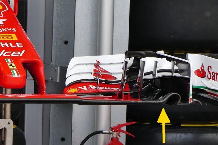 Ferrarijevo dosadašnje prednje krilo za visoke downforce zahtjeve - žuta strelica ukazuje na razliku u odnosu na novo krilo za Singapur (Foto: AMuS)