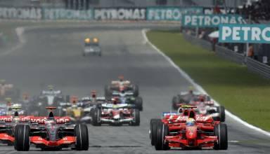 Massa Alonso Raikkonen Hamilton Malaysian GP F1 2007 start Photo Ferrari