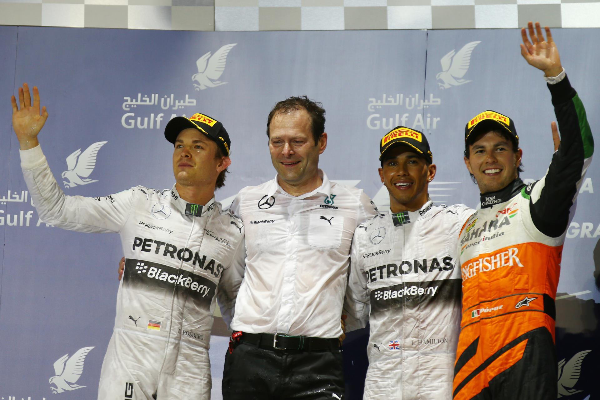 Bahrain F1 2014 podium Hamilton Rosberg Perez Foto Force India