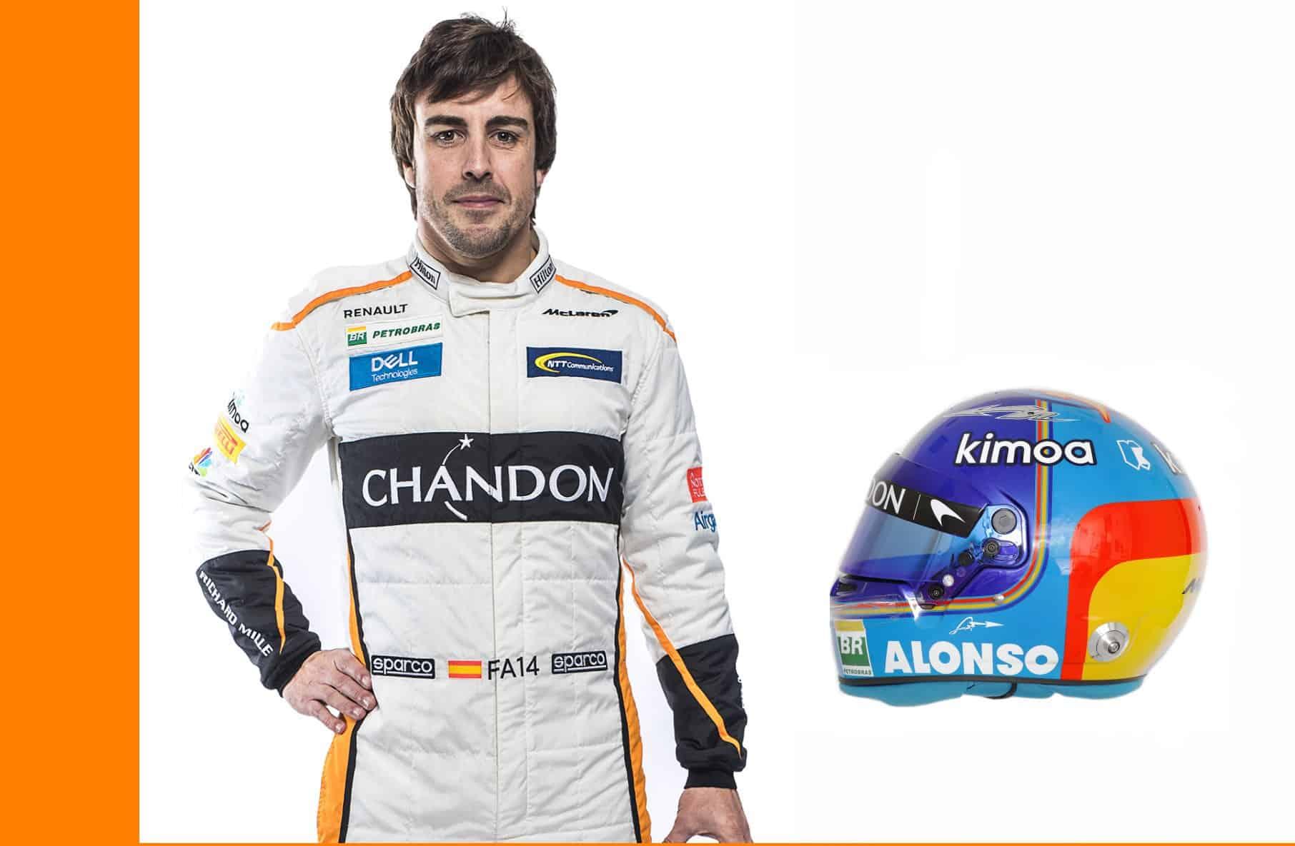 Fernando Alonso McLaren MCL33 Renault F1 2018 profile helmet full