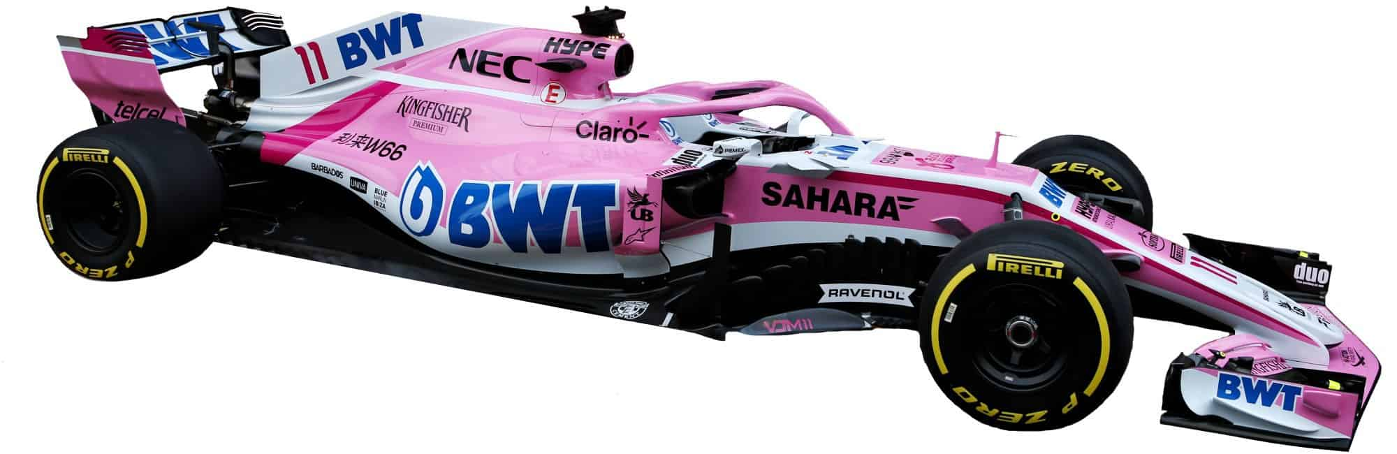 Force India VJM11 F1 2018 side studio photo white Photo Force India MAXF1net
