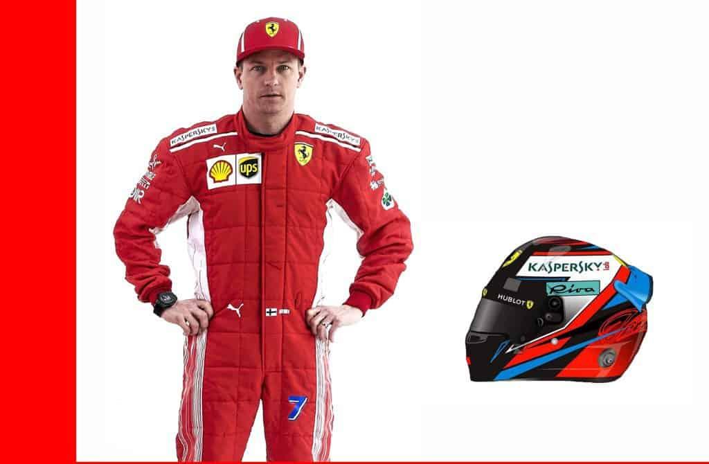 Kimi Raikkonen Ferrari SF71H F1 2018 profile helmet full