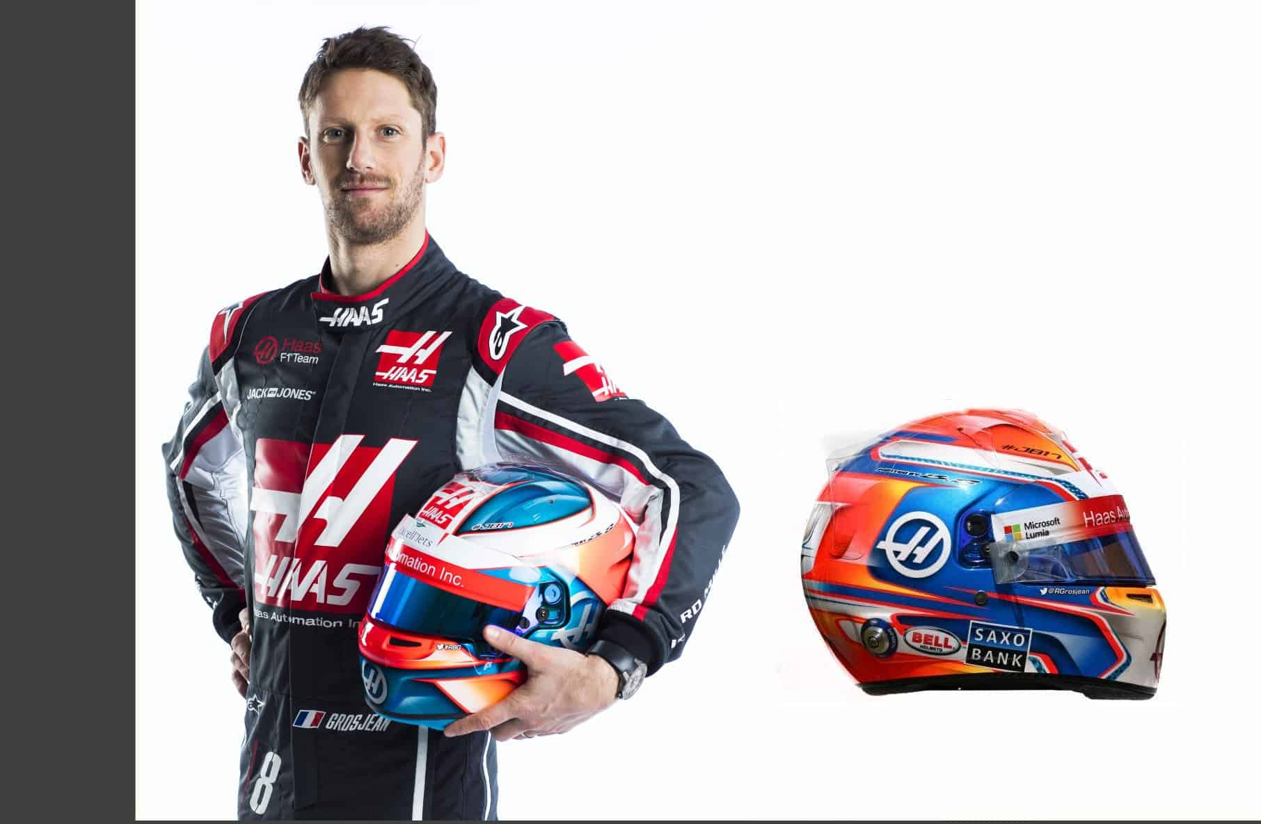 Romain Grosjean Haas VF-18 driver portrait helmet F1 2018