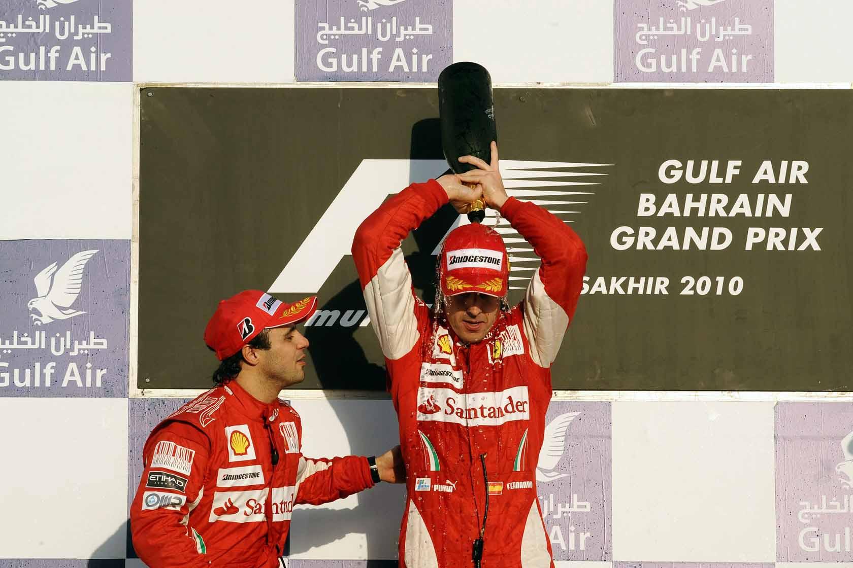 alonso massa bahrain 2010 ferrari podium