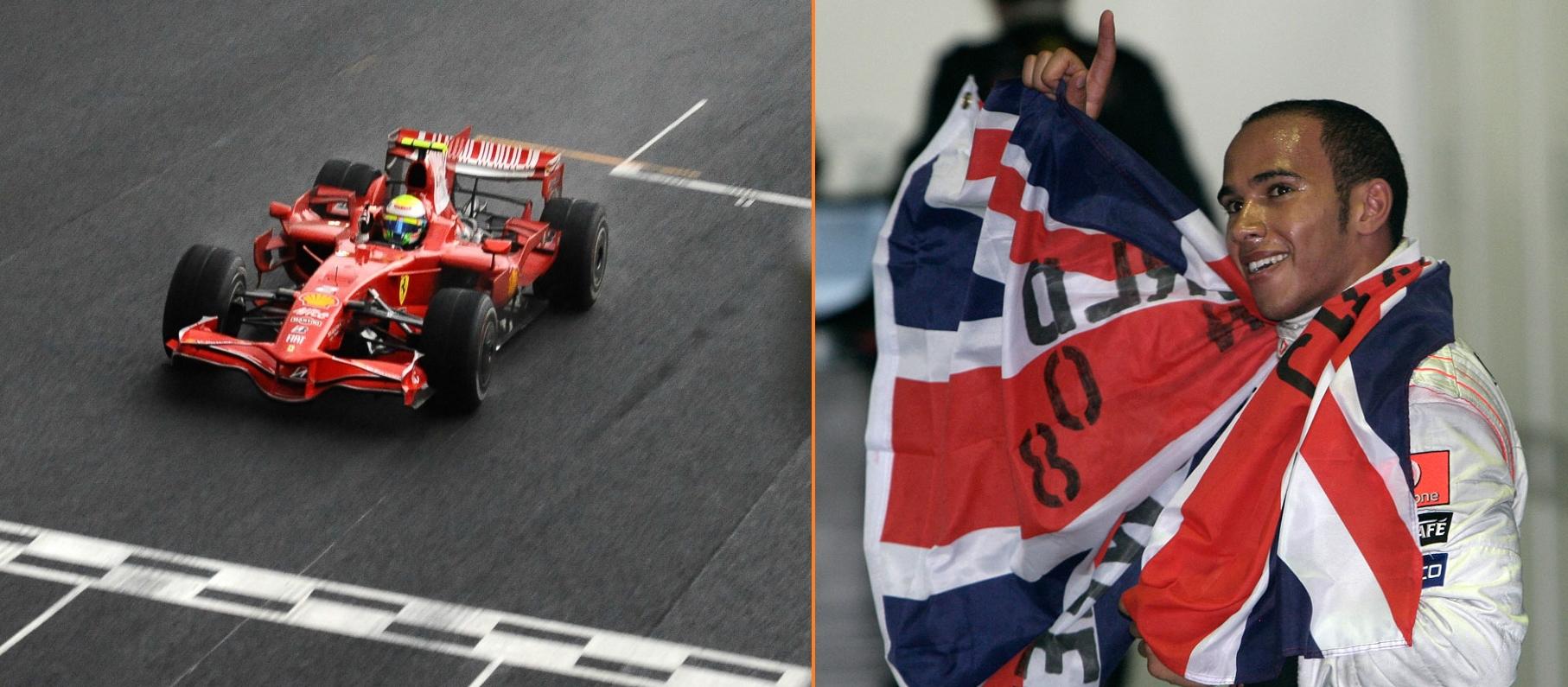 Felipe Massa (lijevo) slavi pobjedu na domaćoj utrci u Brazilu, ali prvak je ipak postao Lewis Hamilton (desno) nakon što je u posljednjem krugu prestigao Glocka i osvojio peto mjesto koje mu je trebalo. (2.11.2008.)