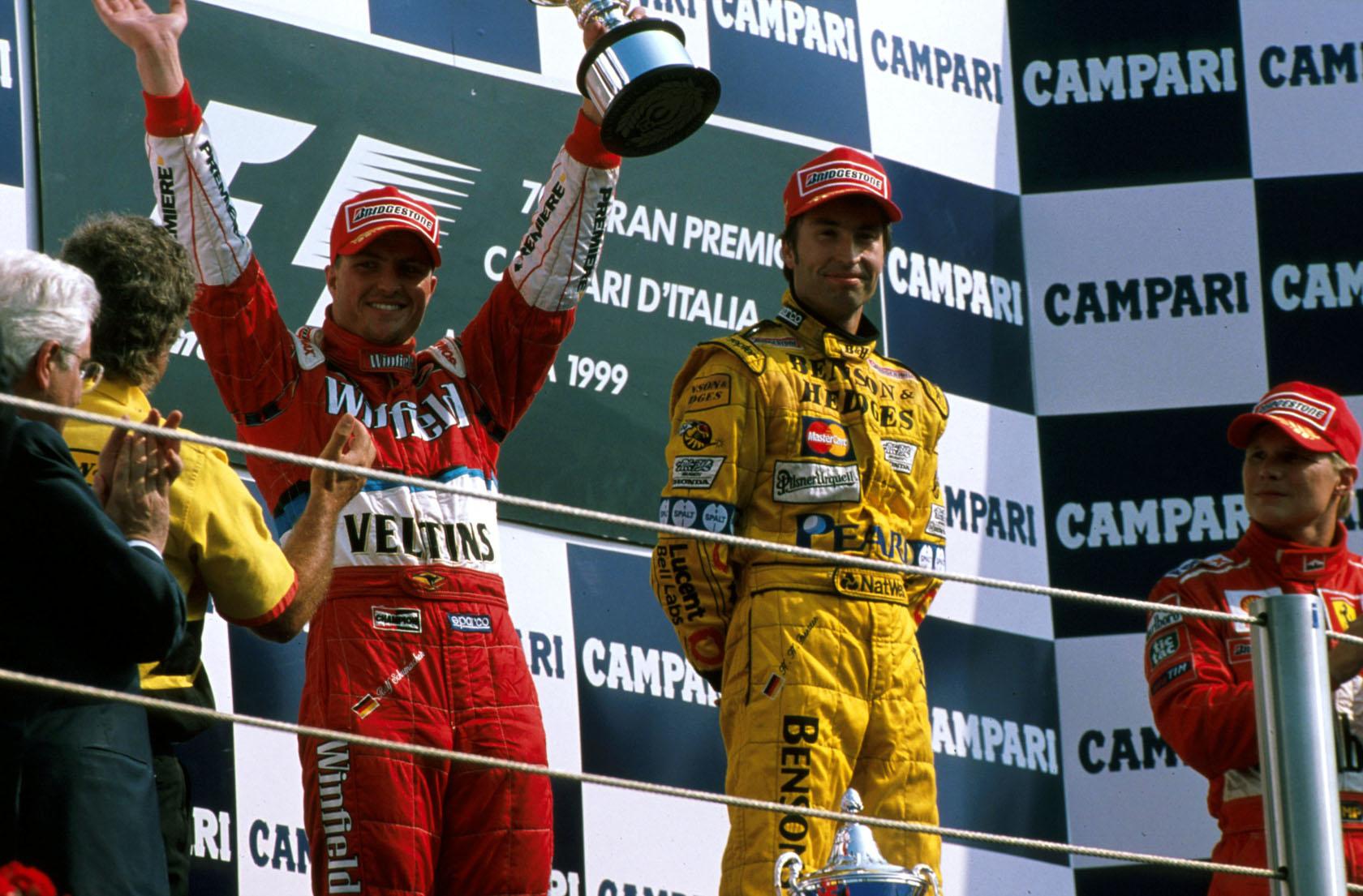 Pobjedničko postolje u Monzi 1999. i rezultat sezone za Williams i Ralfa Schumachera (2. mjesto) (12.9.1999.) Foto: f1history