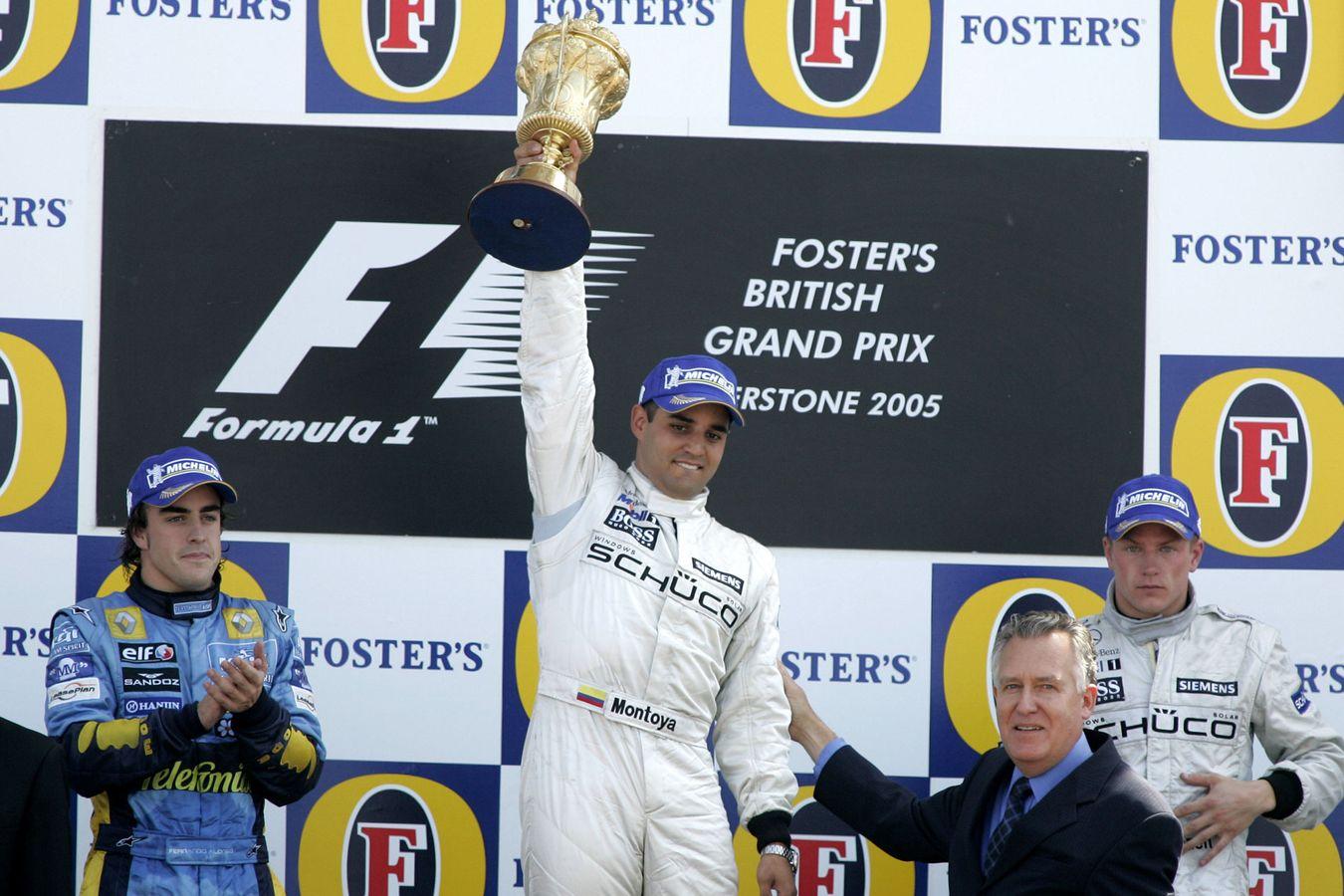 Juan Pablo Montoya slavi prvi pobjedu za McLaren (petu ukupno u F1 karijeri). (10.7.2005.) Foto: McLaren