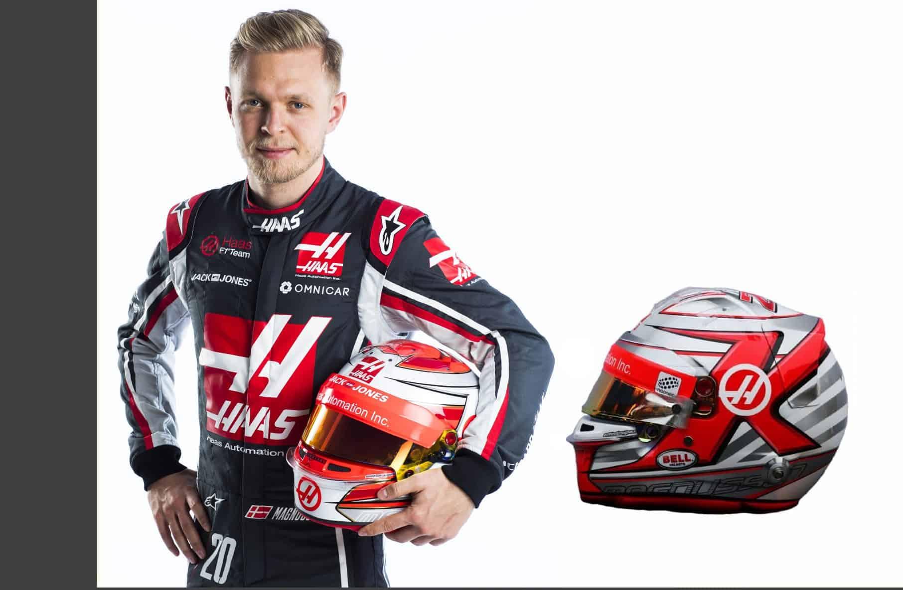 Kevin Magnussen Haas VF-18 driver portrait helmet F1 2018