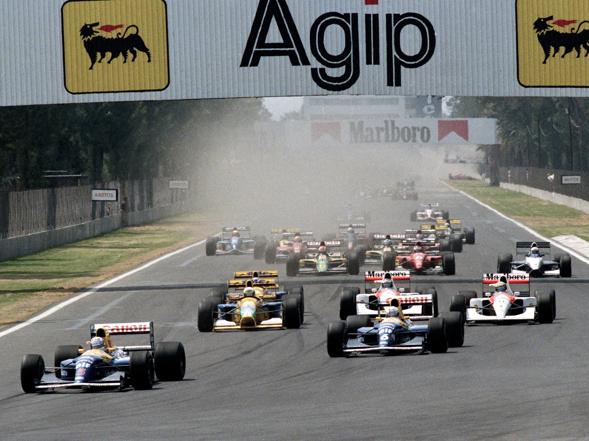 Start VN Meksika 1992. - Mansell ispred Patresea, Schumachera, Bergera i Senne. (22.3.1992.) Foto: independent
