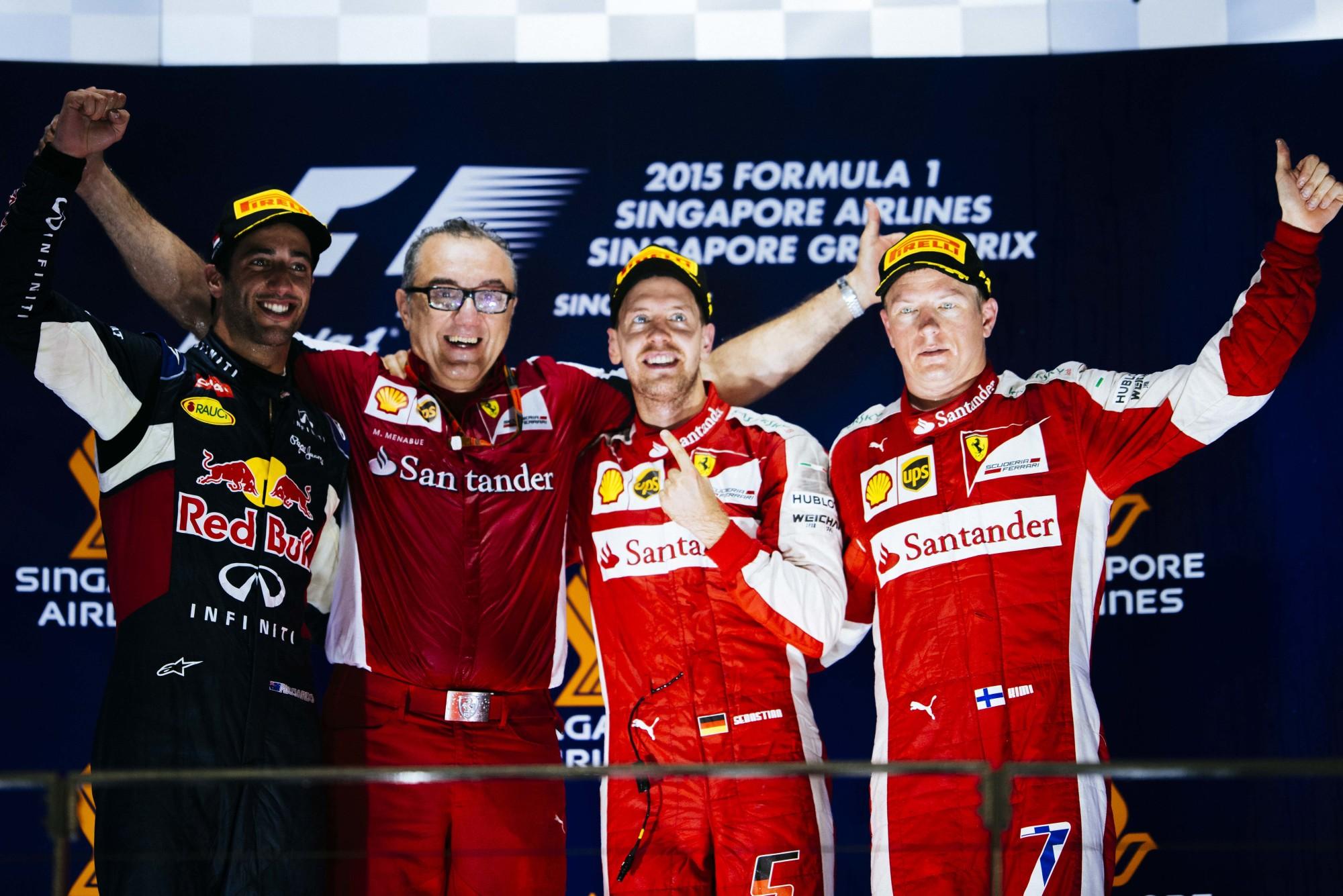 Vettel slavi pobjedu na VN Singapura 2015. (20.9.2015.) Foto: Ferrari