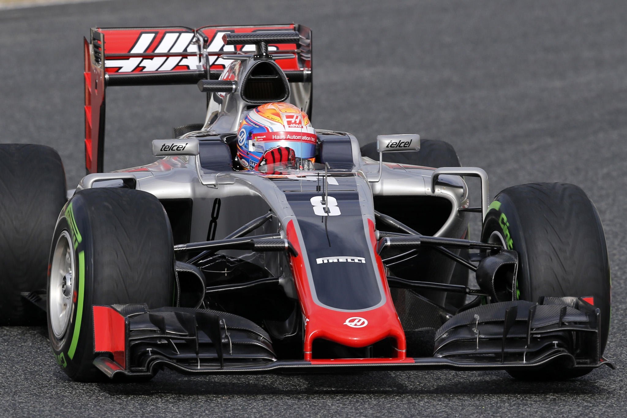 Romain Grosjean Haas F1 Vr16 Barcelona Test 22 2 2016 On Track Maxf1net