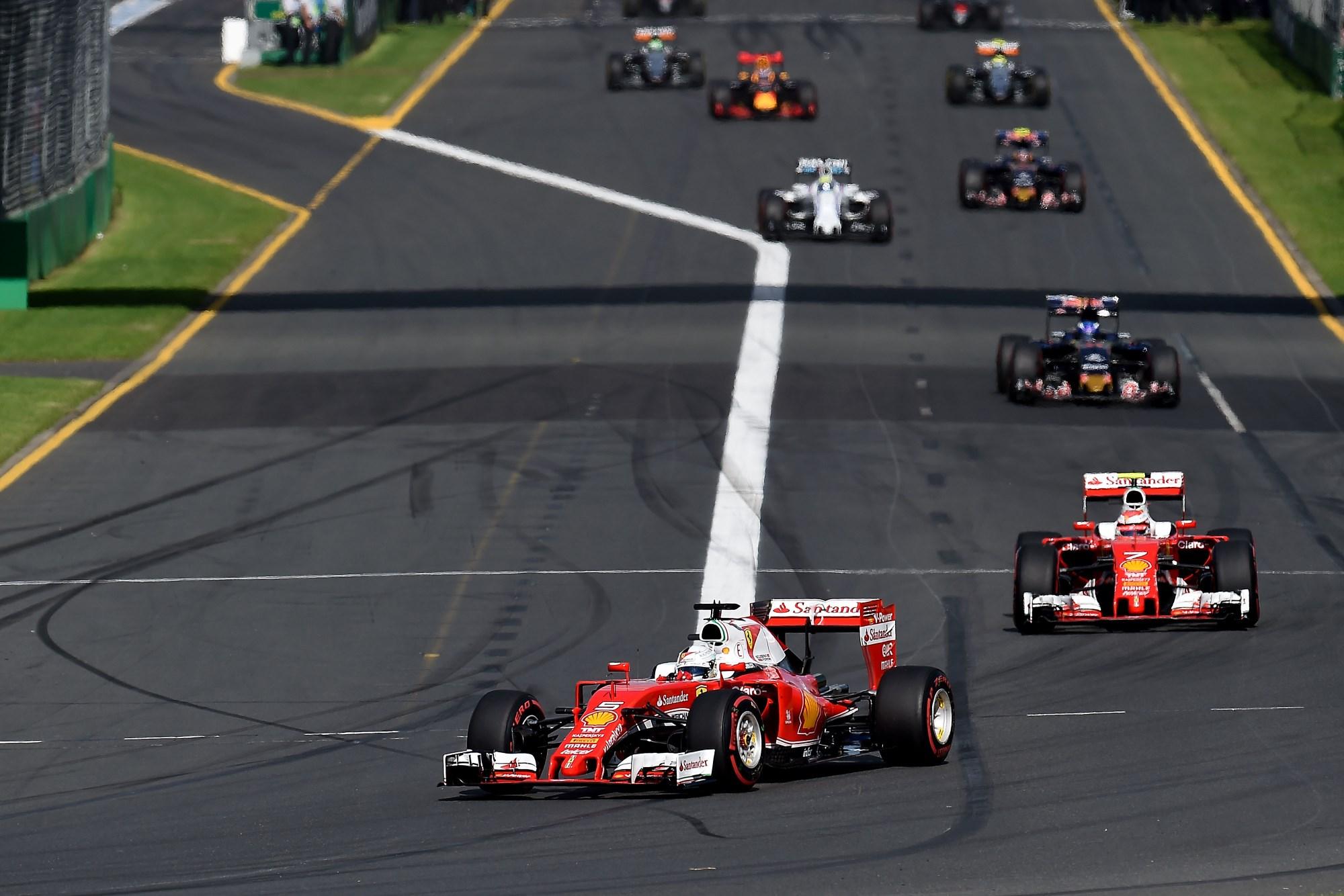 Ferrari drivers Sebastian Vettel and Kimi Raikkonen leading Australian GP 2016