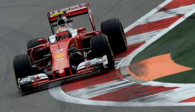 Kimi Raikkonen Ferrari SF16-H Russia GP Sochi F1 2016 on apex kerb Foto Ferrari
