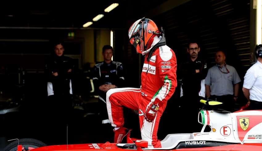 Kimi Raikkonen Ferrari SF16-H Russia GP Sochi F1 2016 steps out of his car after qualifying