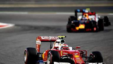 Kimi-Raikkonen-Ferrari-SF16-H-leads-Ricciardo-and-Bottas-at-the-Bahrain-GP-F1-2016.