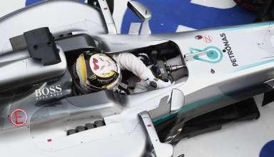 Lewis Hamilton Mercedes W07 Hybrid China GP F1 2016 exits pit garage