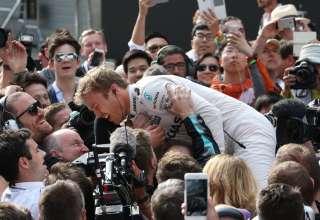 Nico Rosberg Mercedes W07 Hybrid China GP F1 2016 celebrates his 17th career victory