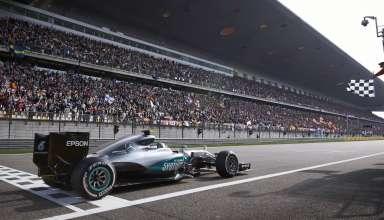Nico Rosberg Mercedes W07 Hybrid China GP F1 2016 celebrates his 17th career victory crossing the finish line
