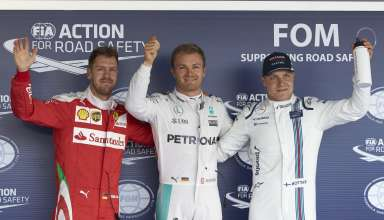 Nico Rosberg Mercedes W07 Hybrid Sebastian Vettel Ferrari SF16-H Valtteri Bottas Williams Mercedes FW38 post qualifying Russia GP F1 2016 - Foto Mercedes