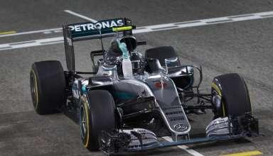 Nico Rosberg Mercedes W07 Hybrid celebrates victory at the Bahrain GP F1 2016