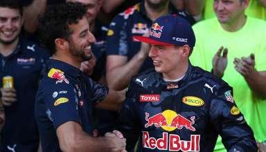 Daniel Ricciardo and Max Verstappen after the Spanish GP F1 2016 Foto Red Bull