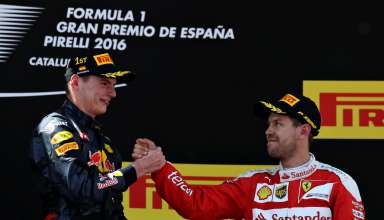 Max Verstappen Red Bull TAG Heuer RB12 and Sebastian Vettel Ferrari SF16-H Spain GP F1 2016 podium ceremony