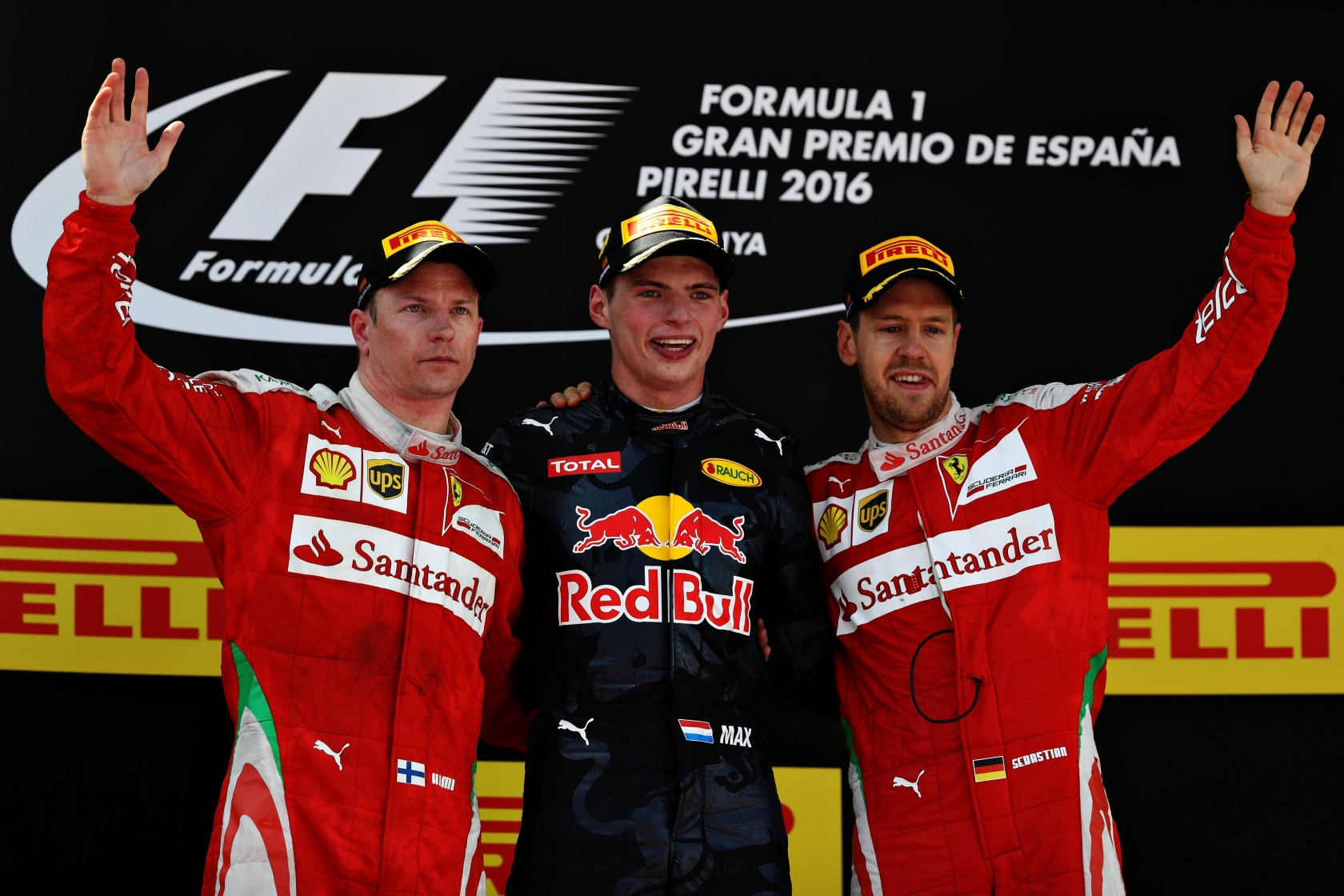 Max Verstappen Red Bull TAG Heuer RB12 on podium with Raikkonen and Vettel Spain GP F1 2016 Foto Red Bull