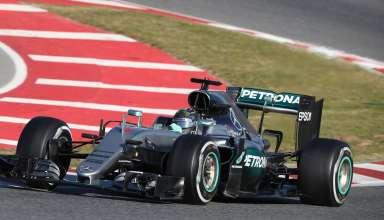 Nico Rosberg Mercedes W07 Hybrid Spain F1 test 2016 final corner Foto Mercedes
