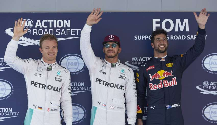 Spain GP Barcelona F1 2016 post qualifying top three picture Foto Mercedes