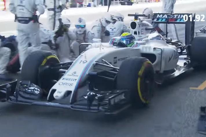 Felipe Massa Williams FW38 Mercedes European GP Baku F1 2016 fastest pitstop DHL screenshot youtube