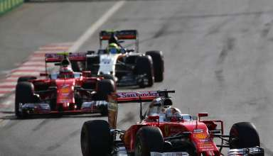 Sebastian Vettel Ferrari SF16-H leads Kimi Raikkonen and Sergio Perez at European GP Baku F1 2016 foto F1fanatic