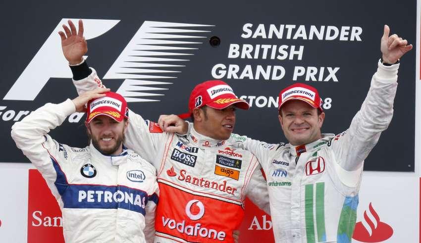 British GP Silverstone F1 2008 podium Heidfeld BMW Hamilton McLaren Barrichello Honda Foto f1fansite